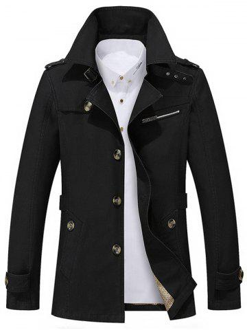 Buy Button Up Notch Collar Slim Fit Jacket BLACK 5XL