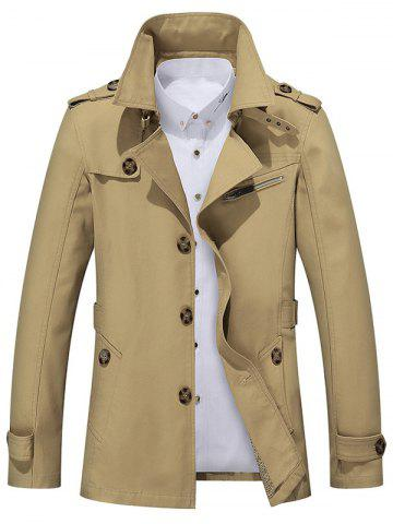 Discount Button Up Notch Collar Slim Fit Jacket EARTHY 5XL