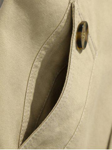 Trendy Button Up Notch Collar Slim Fit Jacket - 5XL EARTHY Mobile