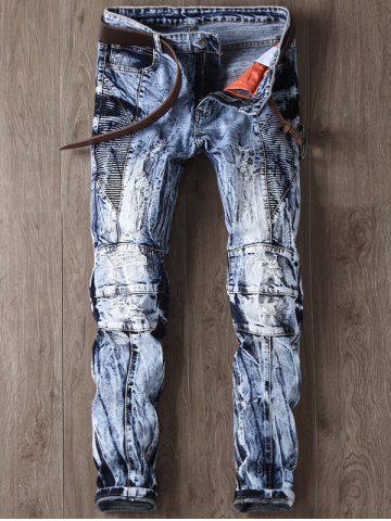 Online Narrow Feet Faded and Tie Dye Panel Ripped Jeans BLUE 38