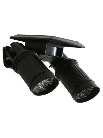 Double Head LED Solar Power Garden Wall Light - Black