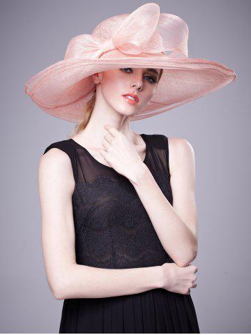 Trendy Cambric Layer Wide Brim Bowknot Banquet Hat PAPAYA