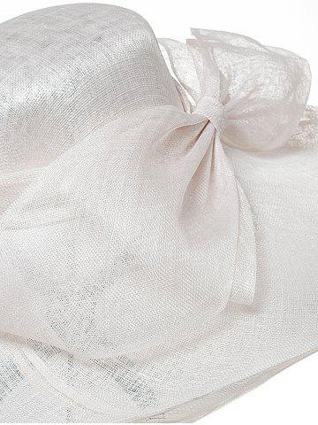 Online Cambric Layer Wide Brim Bowknot Banquet Hat - WHITE  Mobile