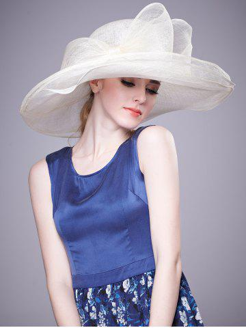 Fancy Cambric Layer Wide Brim Bowknot Banquet Hat - WHITE  Mobile