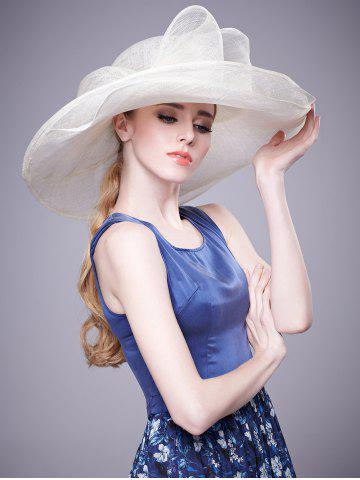 Trendy Cambric Layer Wide Brim Bowknot Banquet Hat - WHITE  Mobile
