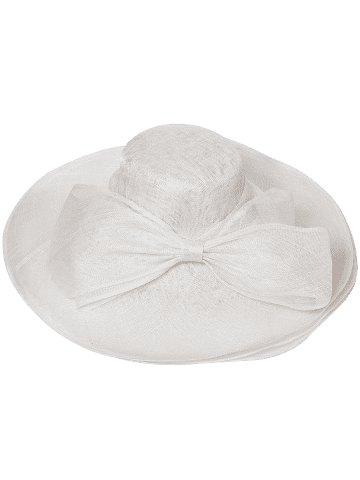 Outfit Cambric Layer Wide Brim Bowknot Banquet Hat - WHITE  Mobile
