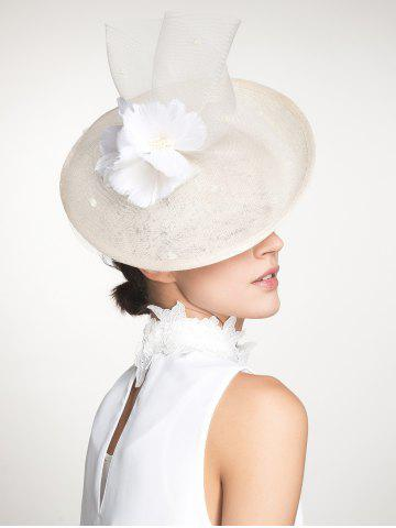 Discount Cambric Piece Mesh Feather Flower Cocktail Hat - IVORY WHITE  Mobile