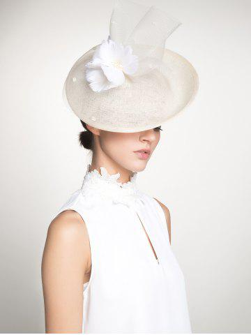 Online Cambric Piece Mesh Feather Flower Cocktail Hat - IVORY WHITE  Mobile