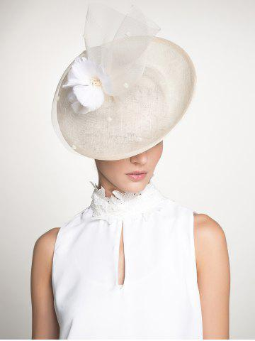 Outfit Cambric Piece Mesh Feather Flower Cocktail Hat - IVORY WHITE  Mobile