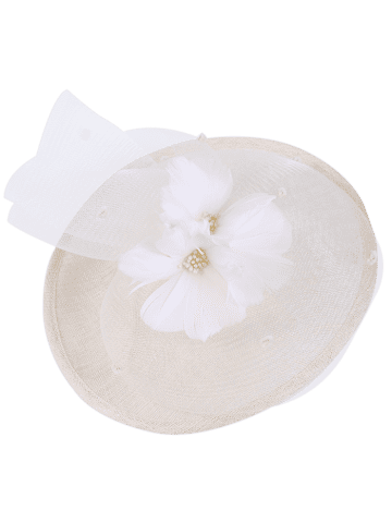 Store Cambric Piece Mesh Feather Flower Cocktail Hat - IVORY WHITE  Mobile