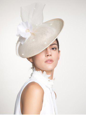 Affordable Cambric Piece Mesh Feather Flower Cocktail Hat - IVORY WHITE  Mobile