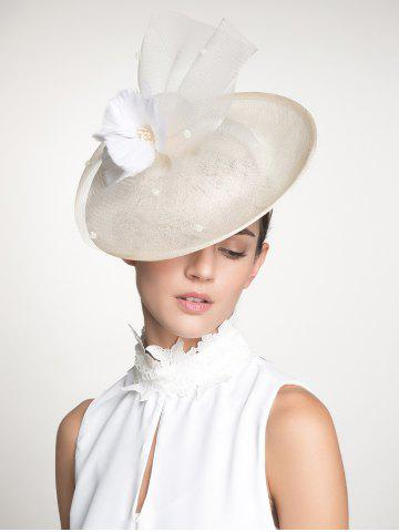 Shop Cambric Piece Mesh Feather Flower Cocktail Hat - IVORY WHITE  Mobile
