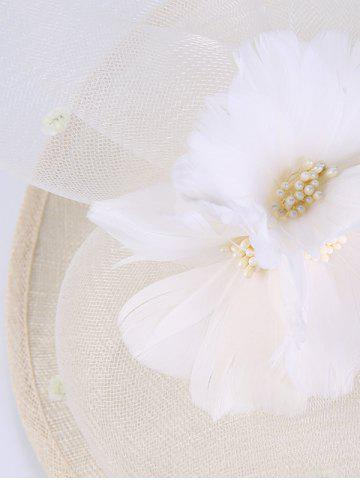 Fancy Cambric Piece Mesh Feather Flower Cocktail Hat - IVORY WHITE  Mobile