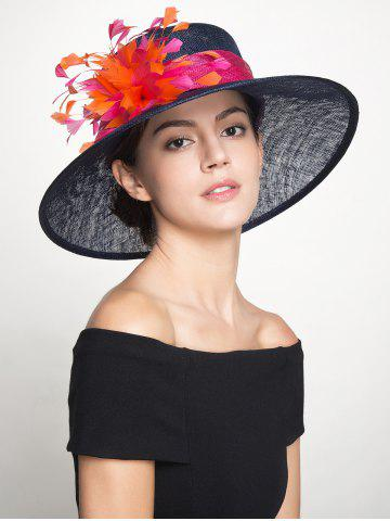Muliticolor Feather Florwer Cambric Ribbon Hat - Royal