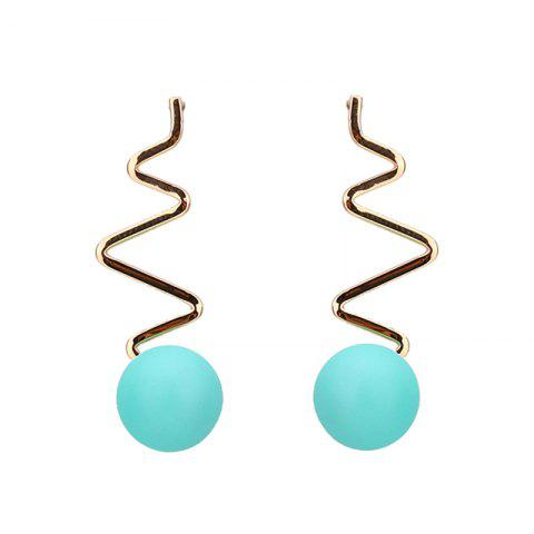 Zig Zag Resin Ball Drop Earrings - Light Green