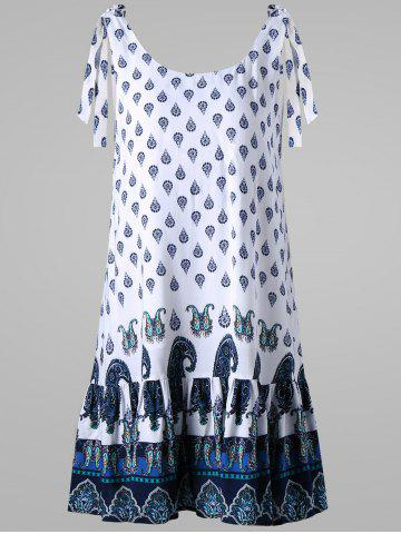 Cheap Paisley Tie Shoulder Open Back Dress - 2XL WHITE Mobile