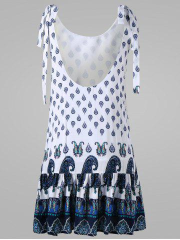 Sale Paisley Tie Shoulder Open Back Dress - 2XL WHITE Mobile