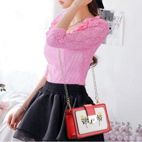 Shop Chain Strap Floral Embroidery Crossbody Bag - RED  Mobile