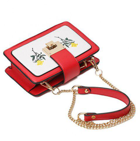 Unique Chain Strap Floral Embroidery Crossbody Bag - RED  Mobile