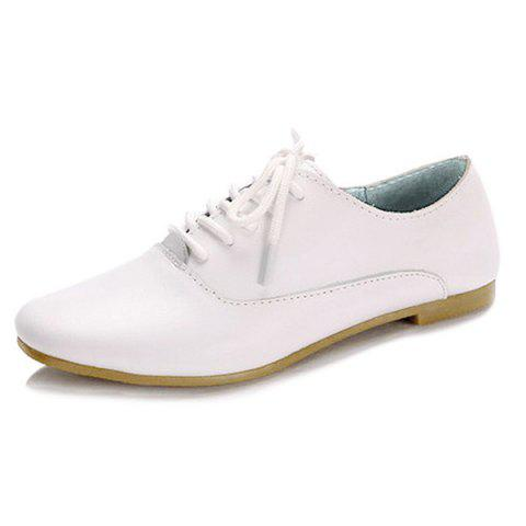Fancy Tie Up Faux Leather Flat Shoes - 37 WHITE Mobile