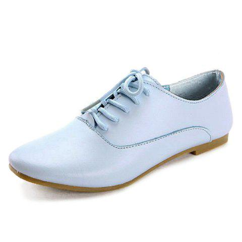 Trendy Tie Up Faux Leather Flat Shoes - 39 BLUE Mobile