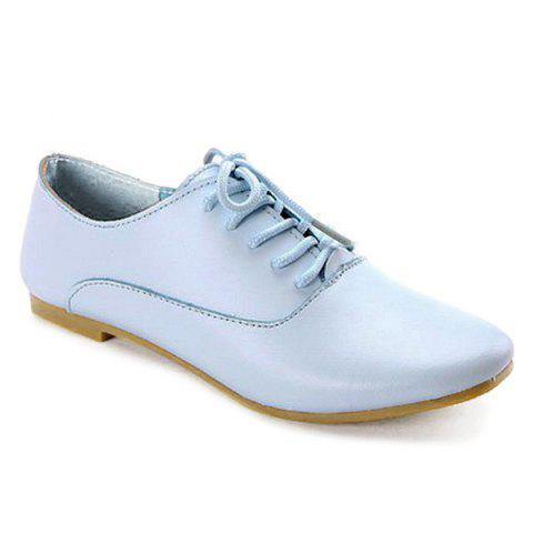 Trendy Tie Up Faux Leather Flat Shoes - 40 LIGHT BLUE Mobile