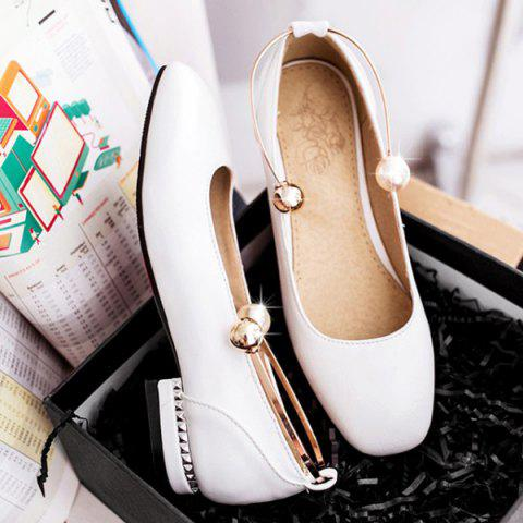 New Faux Pearl Square Toe Flat Shoes - 37 WHITE Mobile