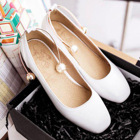 Affordable Faux Pearl Square Toe Flat Shoes - 37 WHITE Mobile