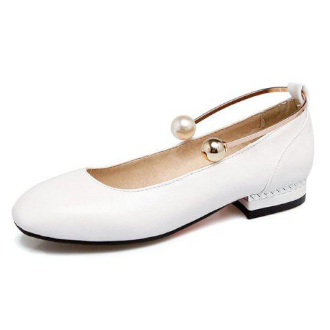 Shops Faux Pearl Square Toe Flat Shoes - 37 WHITE Mobile