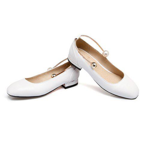 Store Faux Pearl Square Toe Flat Shoes - 37 WHITE Mobile