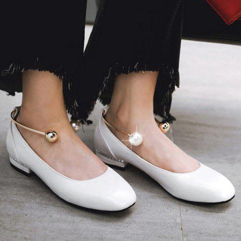 Online Faux Pearl Square Toe Flat Shoes - 37 WHITE Mobile