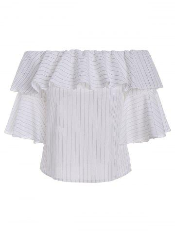 Outfit Bell Sleeve Stripe Off The Shoulder Top WHITE L