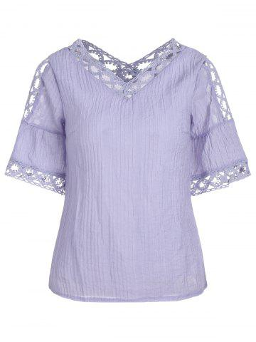 Bell Sleeve Lace Insert Cold Shoulder Blouse - Light Purple - 2xl