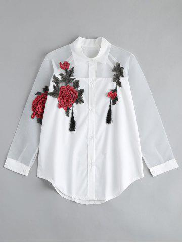 Best Floral Embroidered Button Up Tassel Shirt WHITE 2XL