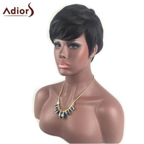 New Adiors Inclined Bang Short Layered Straight Synthetic Wig - BLACK  Mobile