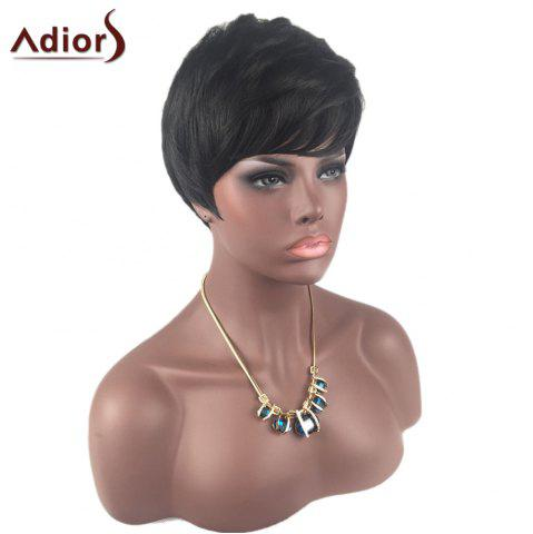 Affordable Adiors Inclined Bang Short Layered Straight Synthetic Wig - BLACK  Mobile