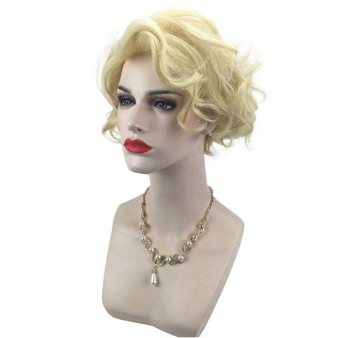 Trendy Side Bang Short Shaggy Layered Curly Cosplay Synthetic Wig - LIGHT GOLD  Mobile