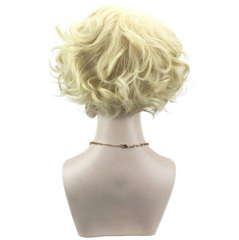 Buy Side Bang Short Shaggy Layered Curly Cosplay Synthetic Wig - LIGHT GOLD  Mobile