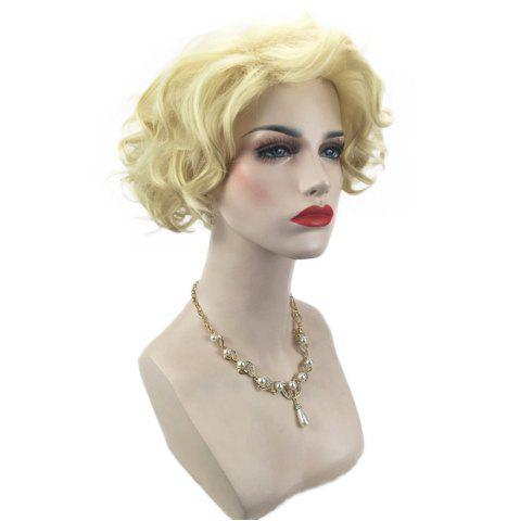 New Side Bang Short Shaggy Layered Curly Cosplay Synthetic Wig - LIGHT GOLD  Mobile