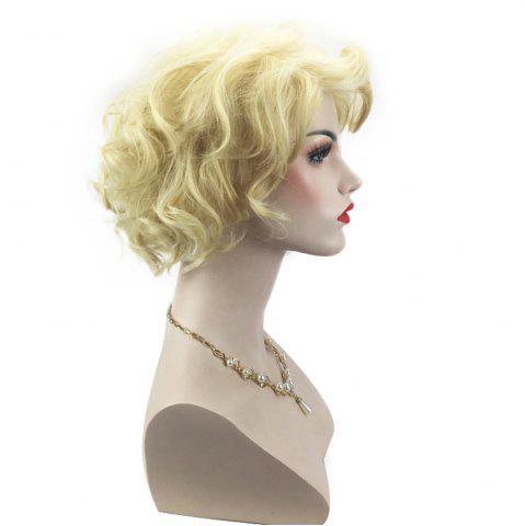 Hot Side Bang Short Shaggy Layered Curly Cosplay Synthetic Wig - LIGHT GOLD  Mobile