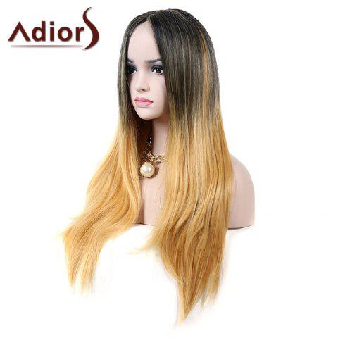 Trendy Adiors Middle Part Natural Straight Colormix Long Synthetic Wig - COLORMIX  Mobile