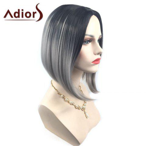 Hot Adiors Middle Part Ombre Straight Short Bob Synthetic Wig - SILVER GRAY  Mobile
