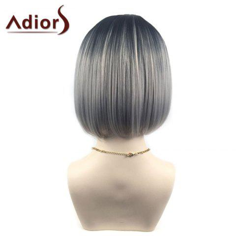 Outfits Adiors Middle Part Ombre Straight Short Bob Synthetic Wig - SILVER GRAY  Mobile