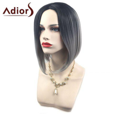 Trendy Adiors Middle Part Ombre Straight Short Bob Synthetic Wig - SILVER GRAY  Mobile