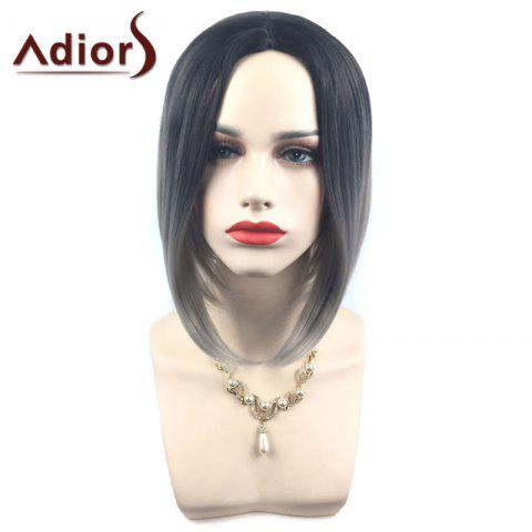Buy Adiors Middle Part Ombre Straight Short Bob Synthetic Wig - SILVER GRAY  Mobile