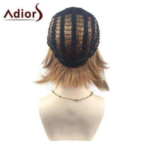 New Adiors Middle Part Ombre Straight Short Bob Synthetic Wig - BLACK AND BROWN  Mobile