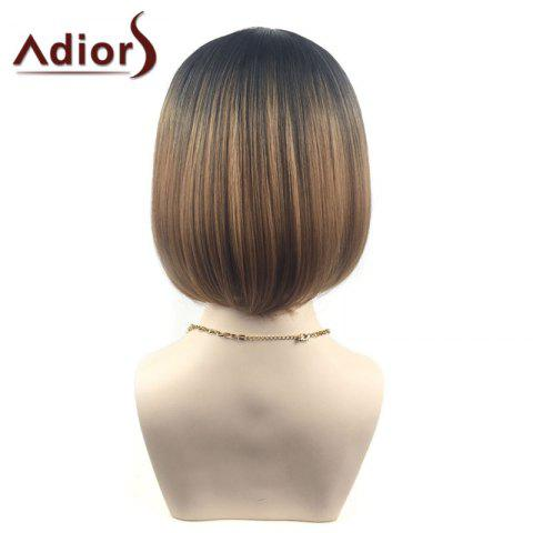 Discount Adiors Middle Part Ombre Straight Short Bob Synthetic Wig - BLACK AND BROWN  Mobile