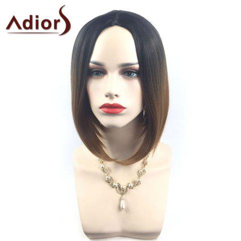Hot Adiors Middle Part Ombre Straight Short Bob Synthetic Wig - BLACK AND BROWN  Mobile