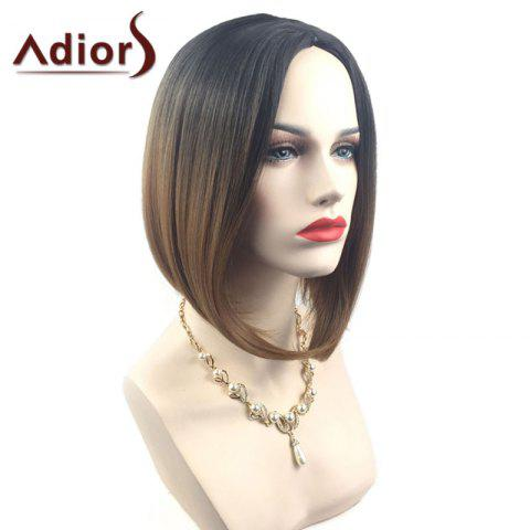 Online Adiors Middle Part Ombre Straight Short Bob Synthetic Wig - BLACK AND BROWN  Mobile