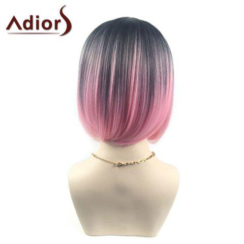 New Adiors Middle Part Ombre Straight Short Bob Synthetic Wig - BLACK AND RED  Mobile